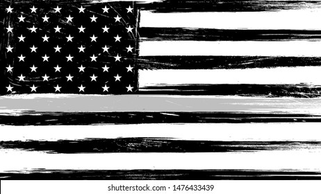Grunge USA flag with a thin gray or silver line - a sign to honor and respect american correctional officers, prison guards and jailers