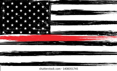 Grunge USA flag with a thin red line - a sign to honor and respect american firefighters