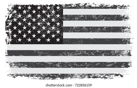 Grunge USA flag. Vintage American flag. Vector black and white flag of United States.