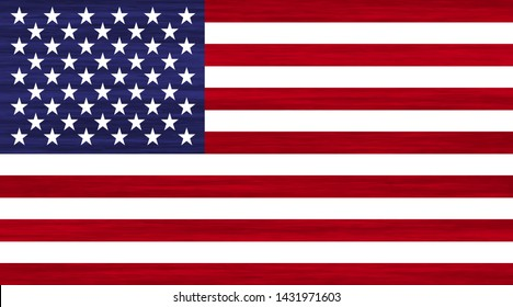 Grunge USA flag with white stars, red and blue stripes. American flag with cool grunge texture. Vector flag of USA in red blue white colores with grunge texture.