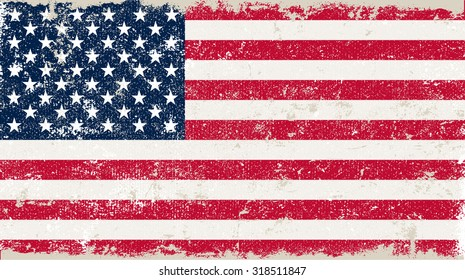 Grunge USA flag.American flag with grunge texture.Vector illustration.