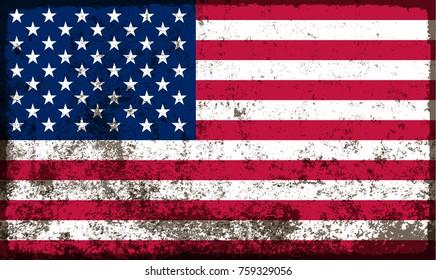 Grunge USA flag.American flag vector template.
