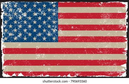 Grunge USA flag.American flag.Vector template.