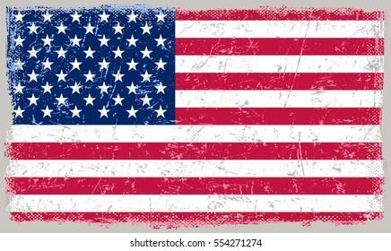 Grunge USA flag.Vector American flag.