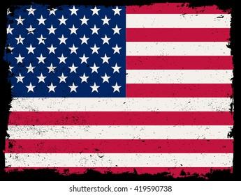 Grunge USA flag.Vintage American flag.Vector flag of USA.