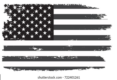 Grunge USA flag.Vintage black and white American flag.Vector.