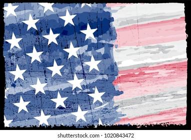 Grunge USA flag.Vintage flag of America.