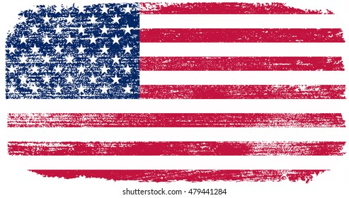 Grunge USA Old American flag.Vector.