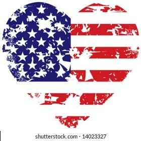 Grunge vector american flag heart background