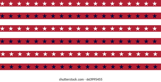 Grunge Vector American Flag pattern. Stars and Stripes Background. National State Symbol of the United States of America, USA. The Star-Spangled Banner with Stars and Stripes.