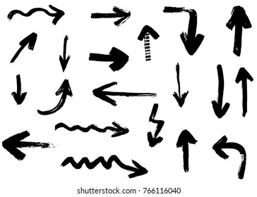 Grunge vector arrows. Dry brush strokes