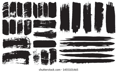 Grunge vector brush. Abstract black spots on a white background. Templates for the destruction of text and print. Isolated lines