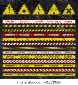 Grunge vector caution tapes collection with warning signs on dark background. Illustration consists of 5 popular symbols and 13 different multicolored tapes. Fully editable file for your projects.