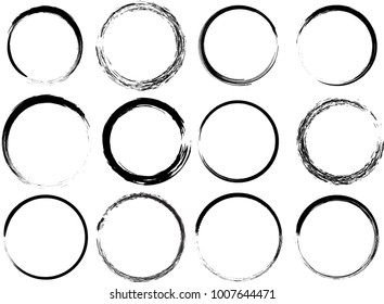 Grunge vector circles. Brush strokes set.