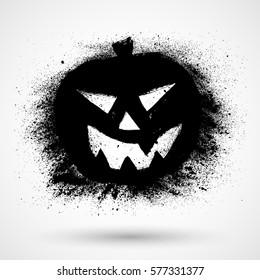 Grunge vector halloween pumpkin icon
