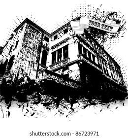 Grunge vector house