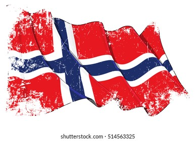 Grunge Vector Illustration of Norwegian waving flag. All elements neatly organized. Texture, Lines, Shading & Flag Colors on separate layers for easy editing.