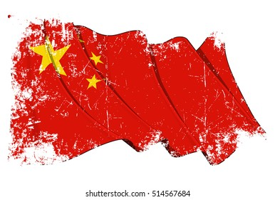Grunge Vector Illustration of a Waving Chinese Flag. All elements neatly organized. Texture, Lines, Shading & Flag Colors on separate layers for easy editing.