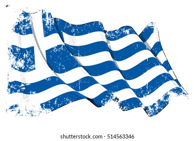 Grunge Vector Illustration of a waving Greek flag against white background. All elements neatly organized. Texture, Lines, Shading & Flag Colors on separate layers for easy editing.