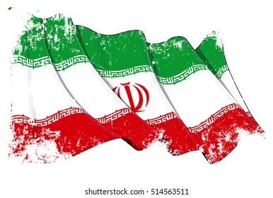 Grunge Vector Illustration of a Waving Iranian Flag. All elements neatly organized. Texture, Lines, Shading & Flag Colors on separate layers for easy editing.