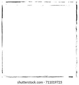 Grunge vector ink hand painted brush stroke frame. Monochrome grunge background. Retro vintage style background. Abstract texture background. Rectangle, square frame isolated on white background.