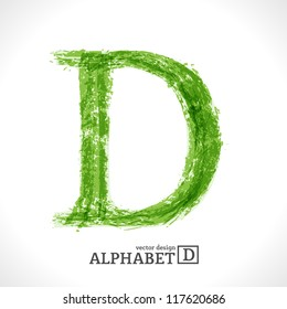 Grunge Vector Letter. Green Eco Style. Font Symbol D.