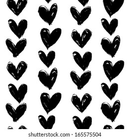 Grunge vector seamless pattern with hand painted hearts. Texture for web, print, valentines day wrapping paper, wedding invitation card background, textile, fabric, home decor, romantic gift paper
