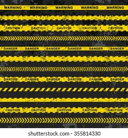 "Grunge vector set of caution tapes on dark background. Illustration consists of ""Warning"", ""Danger"", ""Caution"" tape with text and different tapes without signs. Fully editable file for your projects."