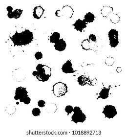 Grunge vector set of ink splashes and drops. Blots splatter black white silhouette illustrations collection