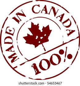 Grunge vector stamp with words Made in Canada 100%