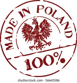 Grunge vector stamp with words Made in Poland 100%