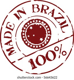 Grunge vector stamp with words Made in Brazil 100%