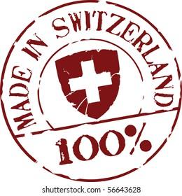 Grunge vector stamp with words Made in Switzerland 100%