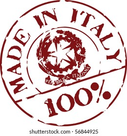 Grunge vector stamp with words Made in Italy 100%