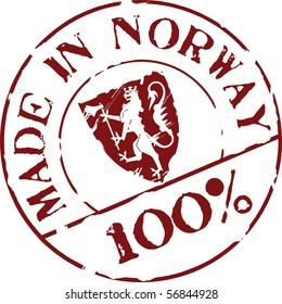 Grunge vector stamp with words Made in Norway 100%