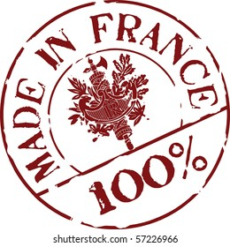 Grunge vector stamp with words Made in France 100%