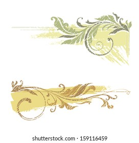 Grunge vector swirl ornate motifs. Elements can be ungrouped for easy editing.