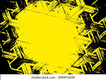 Grunge vector texture geometric yellow, black. With the ability to use overlay. Background scratches, cracks, stains.