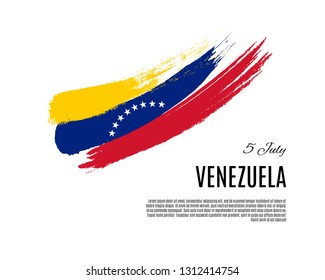 Grunge Venezuela flag. Venezuela Independence Day the 5 of July symbol placard with place for text. Vector illustration