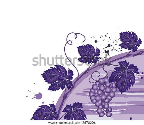 Grunge vine background with grapes, element for design, vector illustration