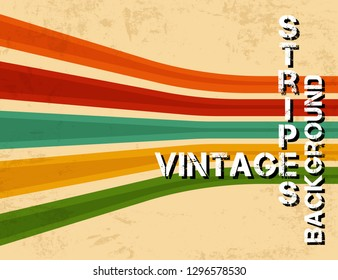 Grunge vintage background with colorful stripes. Retro texture lines backdrop. Vector illustration.