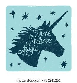 Grunge vintage card with inspiring unicorn silhouette head. Vector illustration