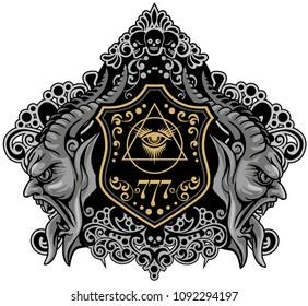 Grunge vintage design t shirts/ with demons