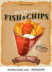 Grunge Vintage Fish And Chips Poster. Illustration of english fish and chips cornet, for fast food snack and takeaway menu