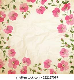 Grunge vintage flowers. Vector illustration.