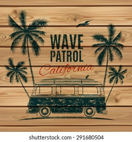 Grunge, vintage, retro surf van with palms and a gull, on wooden planks. Vector illustration.