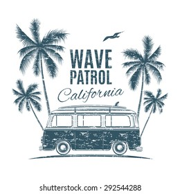 Grunge, vintage, retro surf van with palms and a gull. Handdrawn t-shirt graphics, print. Vector illustration.