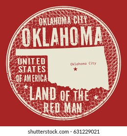 Grunge vintage round stamp or label with text Oklahoma City, Oklahoma, Land of the red man, vector illustration