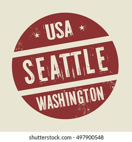 Grunge vintage round stamp with text Seattle, Washington, vector illustration