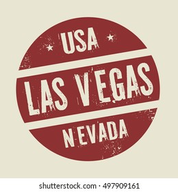 Grunge vintage round stamp with text Las Vegas, Nevada, vector illustration